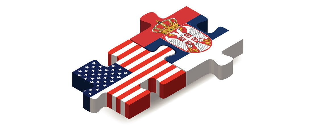 U.S. and Serbian flag in puzzle ilustration